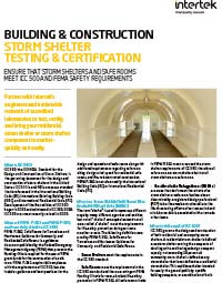 Storm Shelter Testing and Certification