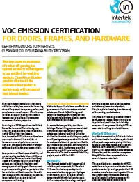 VOC Emission Certification for Doors, Frames, Hardware