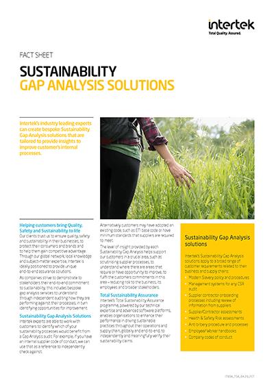 Sustainability gap analysis
